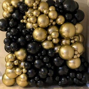 Black and Gold Balloon Wall