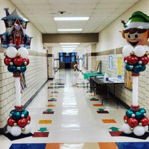 Christmas Themed Balloon Columns