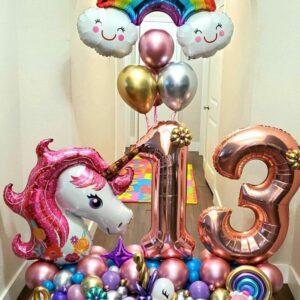 Unicorn and Rainbow Balloon Bouquet